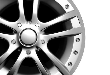 wheel rim: Car wheel on a white background