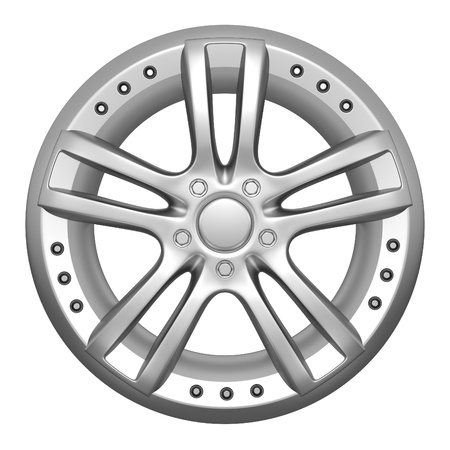 magnesium: Car wheel on a white background