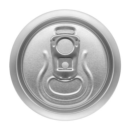 lata de refresco: lata de cerveza en el fondo blanco, vista desde la parte superior