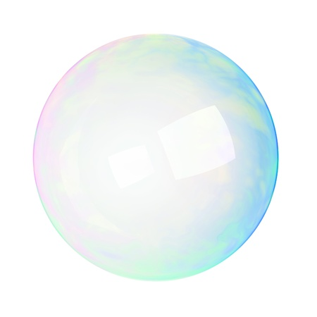 blowing bubbles: soap bubble on a white background