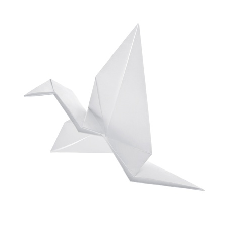 crane origami: Crane from paper flies on white background