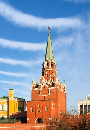 kreml: Moscow. Kreml. Troitskaya (Trinity) Tower against the sky.