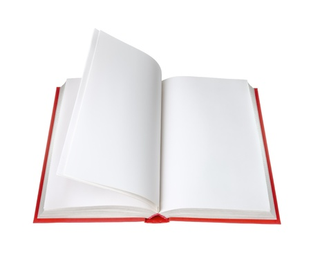 instruction manual: open book with blank pages on white background