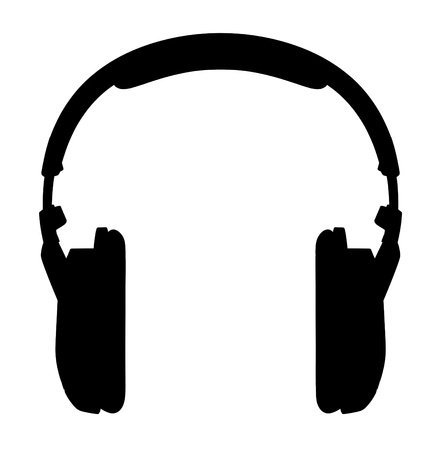 Headphones  Silhouette on a white background  photo