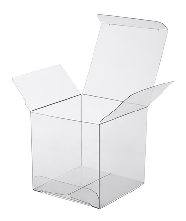 plastic box: box of transparent plastic on a white background