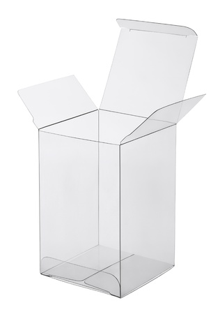 product packaging: box of transparent plastic on a white background