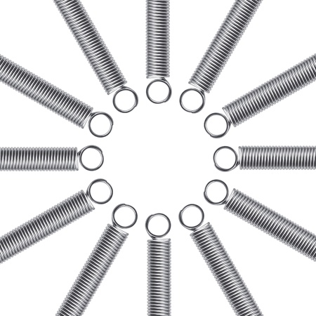 spiralling: Metal springs on a white background. Abstract background