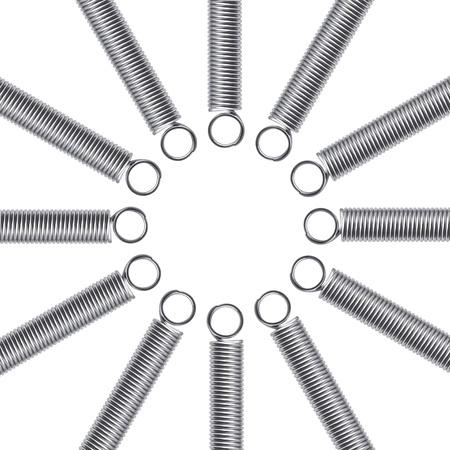 elasticidad: Resortes del metal en un fondo blanco. Resumen de antecedentes