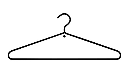 clothing rack: hanger in the shape of a question mark on white background