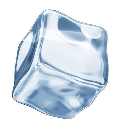 froze: ice cube on a white background