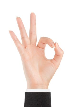 qualitative: Ok. Gesture of the hand on white background Stock Photo