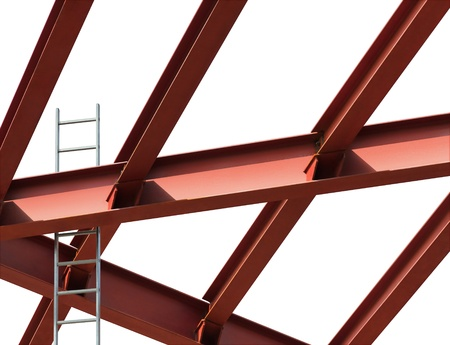 steelwork: Construction site. Steel beams and ladder on a white background. Stock Photo
