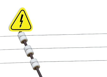 electric fence and high voltage sign on a white background Stock Photo - 18423366