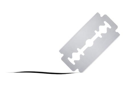 dissect: razor blade cut white background