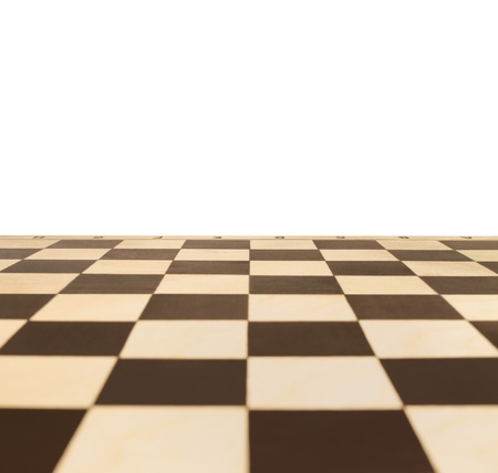 Chessboard in perspective with a blank area for text photo