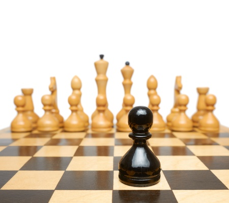 opposition: Chess. Black pawn against white pieces