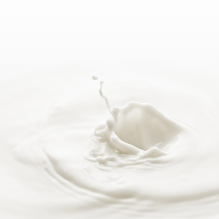 Milk. Template for the falling in the milk of berry or a piece of fruit Stock Photo