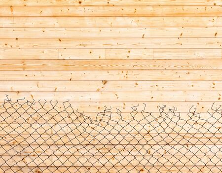 Wooden background. Wall paneling and mesh netting Stock Photo - 18423664