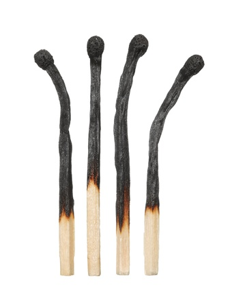 matchstick: Burnt matches on a white background Stock Photo