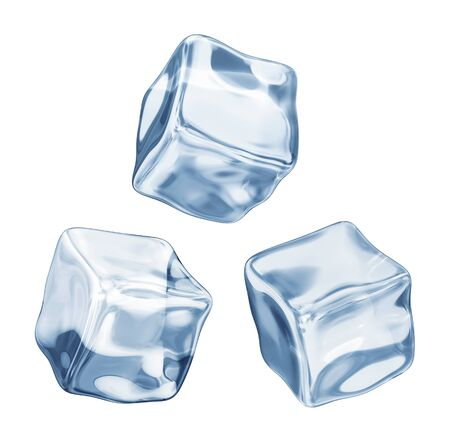 froze: ice cubes on a white background