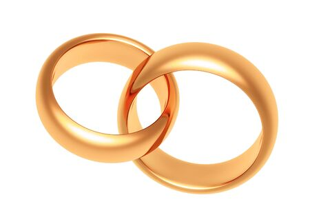 weddingrings: gold rings on a white background Stock Photo