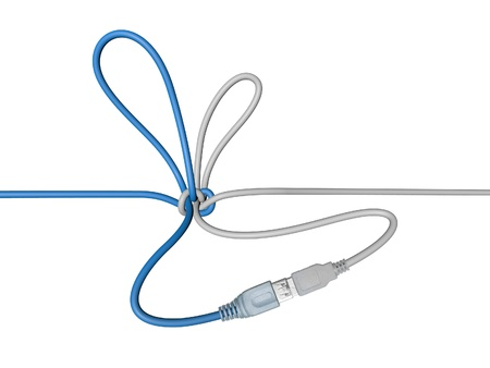 USB wire tied in a knot