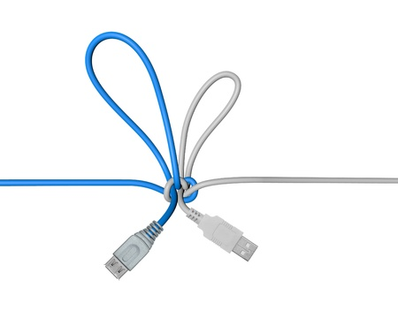 USB wire tied in a knot Stock Photo - 18425629