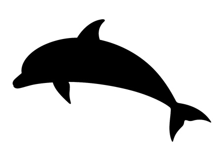 cetacea: Dolphin  silhouette on a white background