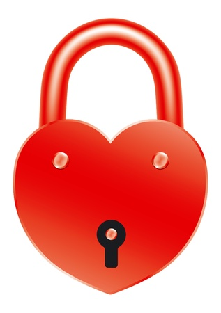amorousness: Red lock in the shape of a heart  Symbol of love and fidelity