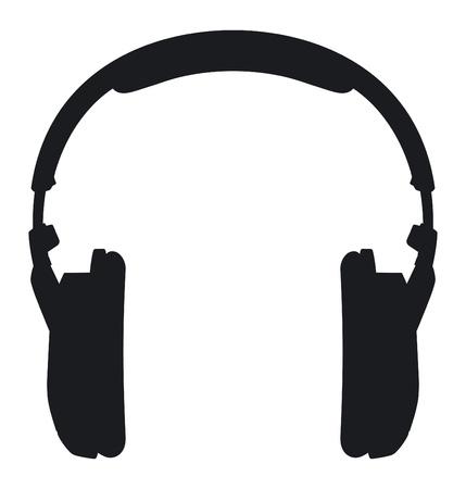 白い背景の上のヘッドフォンのシルエット