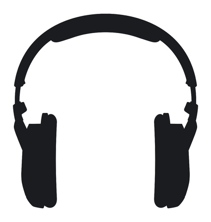 Headphones  Silhouette on a white background  Vector