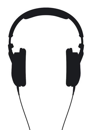 auriculares dj: Auriculares silueta sobre un fondo blanco