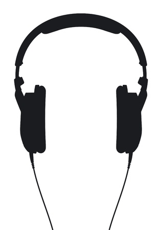 Headphones  Silhouette on a white background