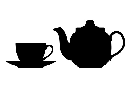 kettles: Tetera y taza siluetas sobre un fondo blanco