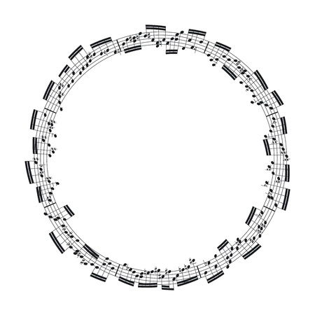 staffs: music notes in the form of a circle