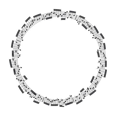 pentagrama musical: notas de música en la forma de un círculo