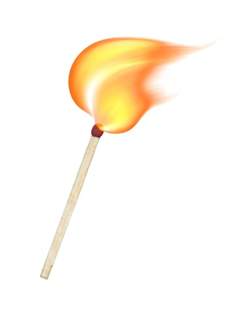matchstick: burning match on a white background Stock Photo