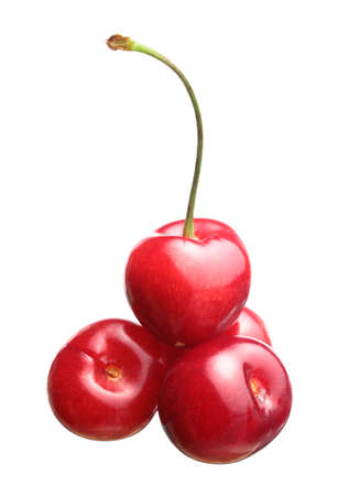 pulpy: Sweet cherry on white background Stock Photo