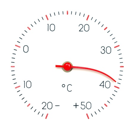 fervour: Symbol hot weather or global Warming  Arrow of the thermometer melt and bend from high temperature