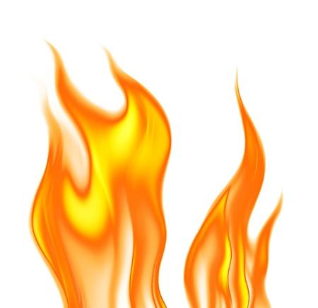 白の背景上の炎 写真素材