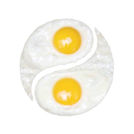 ying yang: Fried eggs in the form of yin and yang on