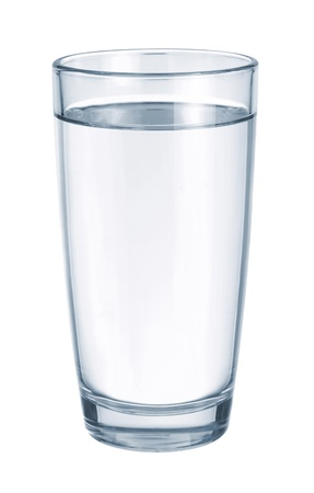 potable: Glass with water on white background Stock Photo