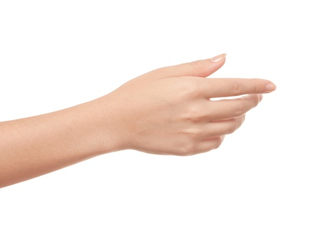 female hand: Empty open woman hand on white background