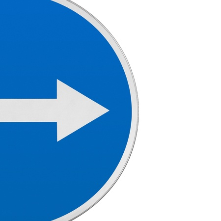 Road sign with an arrow. Fragment on a white background. Stock Photo - 18440620