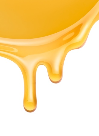 treacle: honey flowing on a white background Stock Photo