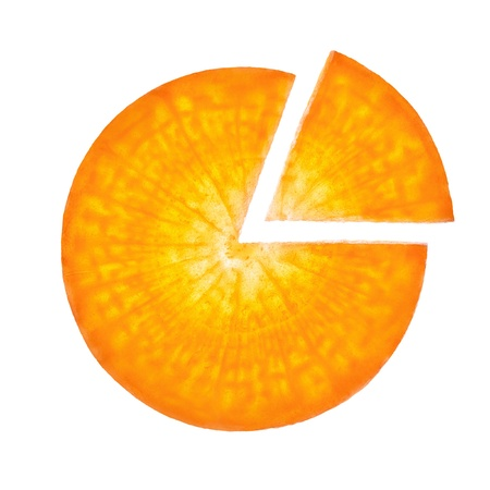 Carrot sliced in the form of pie chart photo