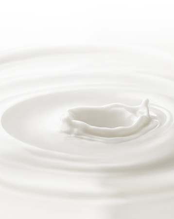 cream: Milk. Template for the falling in the milk of berry or a piece of fruit Stock Photo
