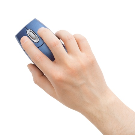 computer mouse in hand on a white background