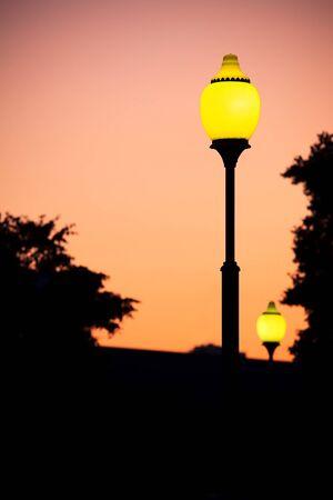 Street lamps, evening photo