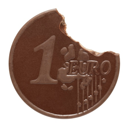 Chocolate euro on a white background